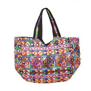 Kuber Industries™ Ethnic Embroidry Mirror Work Shoulder Bag in 'D' Design,Large (White) - BG11