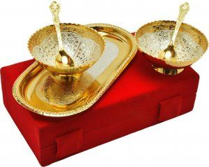 Kuber Industries Gold Plated 2 Bowls, 2 Spoons, 1 Tray Set with a Wooden Box (Gold)-CTKTC4426