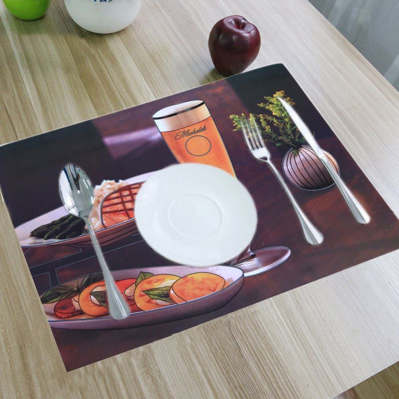 Kuber Industries Dining Table Placemats Set of 6 Pcs With Tea Coasters Color & Print Might Be Vary As Per Availability