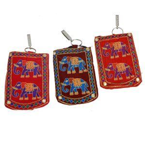 Kuber Industries™ Designer Elephant Embroided Mobile-Phone Pouch Cover With Purse Pocket And Sari Hook For Women (Setof 3) - BG81