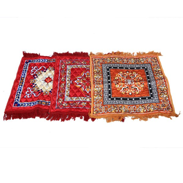 Kuber Industries™ Multi Velvet Pooja Aasan, Pooja Mat Set of 3 Pcs (2 Ft X 2 Ft)