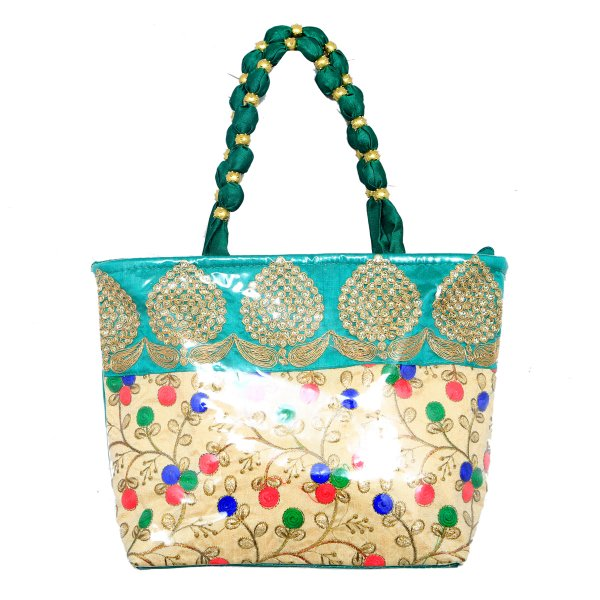 Kuber Industries™ Women Stylish Handbag Fully Laminated (Traditional Design), Green - BG19