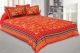 Kuber Industries Cotton 144 TC Double Bedsheet with 2 Pillow Covers (Red)Floral Design