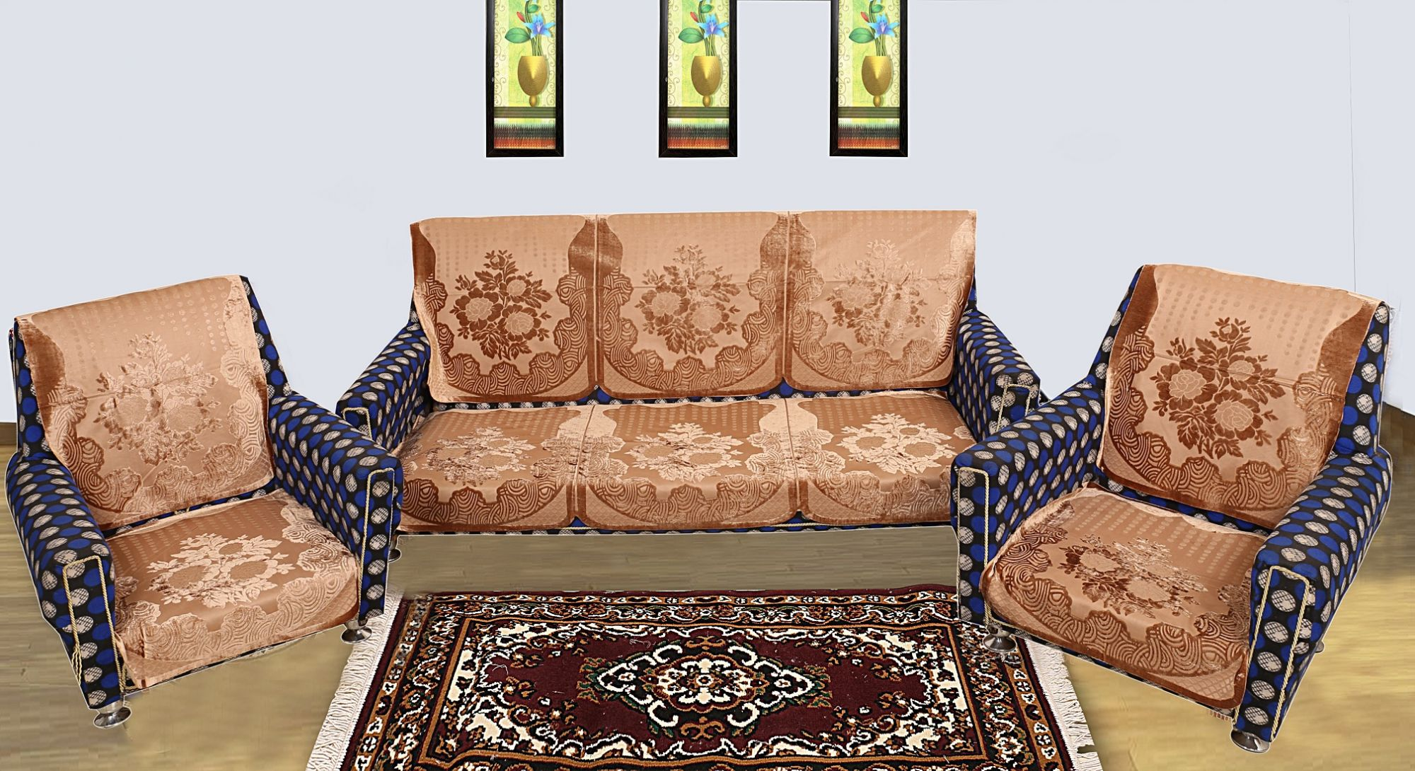Kuber Industries Floral Design 6 Pieces Velvet 5 Seater Sofa Cover (Gold)-CTKTC1293
