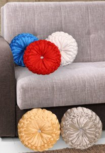 Kuber Industries Silk Round Shape Cushion 35x35 CM (Multi) Set of 5 Pcs-CTKTC1543