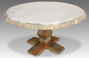 "Kuber Industries PVC Waterproof 4 Seater Round Table Cover with Golden Lace 60"" x 60"" (Gold)-CTKTC3544"