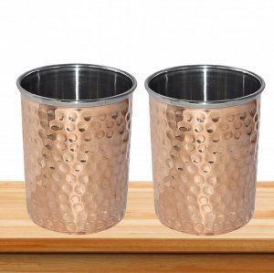 Kuber Industries Hammered Copper Drinking Glass/Tumbler in Inner Stainless Steel Material- Set of 2 Pcs 260 ML Each Ayurvedic Health benefit Drinkware  (COPS06)