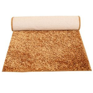 "Kuber Industries Velvet  Shaggy Bed Side Runner (Gold) 6*2"" Feet"