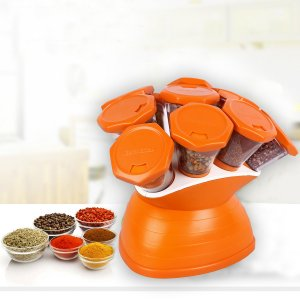Kuber Industries Trueware Plastic 10 in 1 Spice Rack (Orange)-CTKTC3555