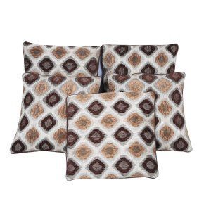 Kuber Industries™ Abstrat Design Cotton Velvet Blend Brown Cushion Cover Set of 5 - 16*16 Inches