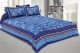 Kuber Industries Cotton 144 TC Double Bedsheet with 2 Pillow Covers (Blue)Floral Design