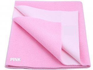 "Kuber Industriesâ""¢ Waterproof Baby Bed Protector, Dry Sheet, Reusable Mat Large Size 100*70 Cm (Pink) KI07006"