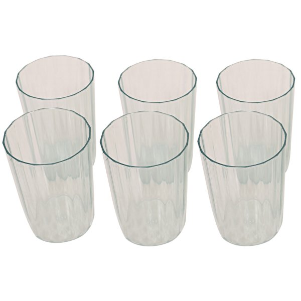 Kuber Industries Plastic Unbreakable Transparent Drinking Glass set of 6 Pcs