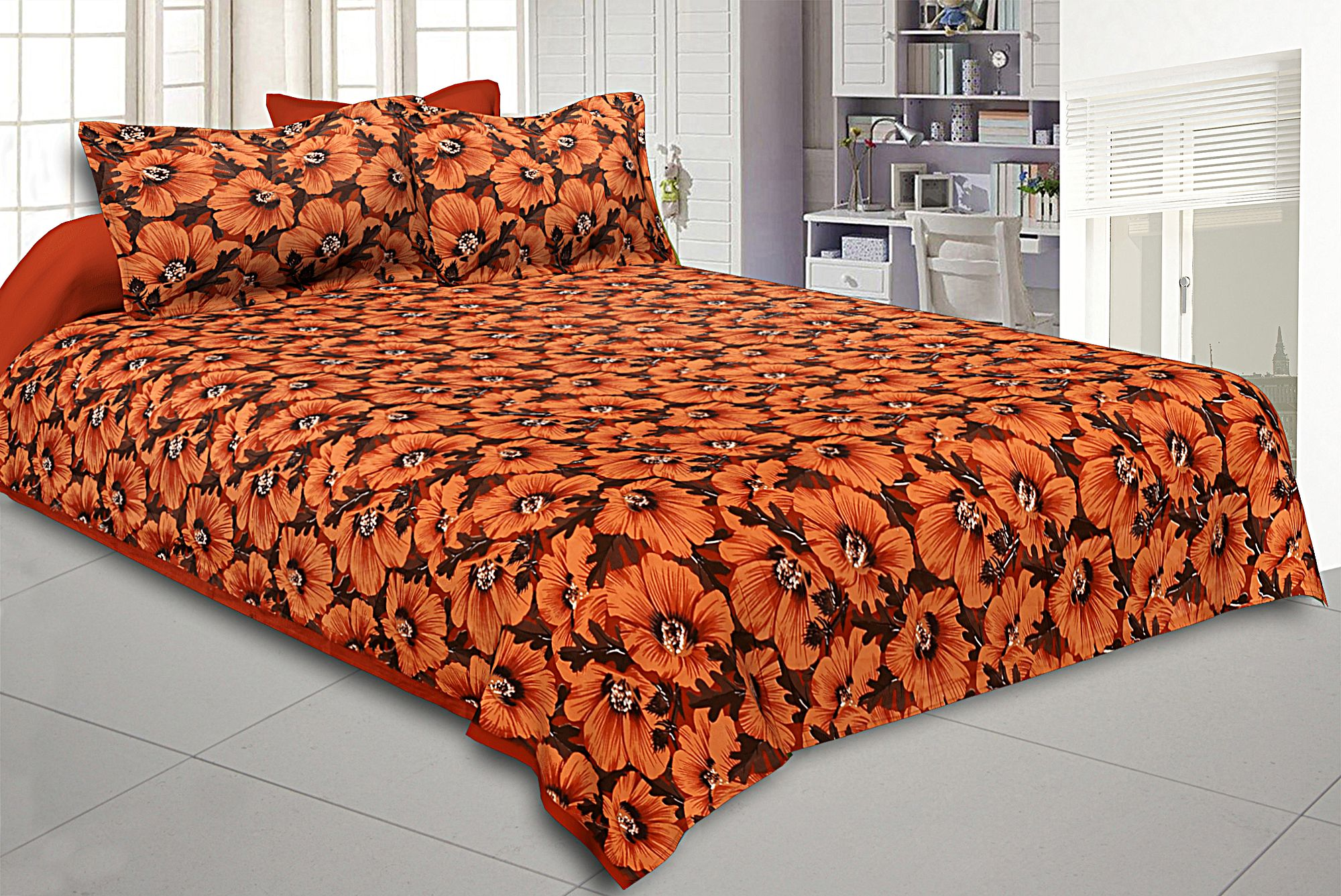 Kuber Industries Cotton Double Bed Sheet with Two Pillow Covers -  Orange
