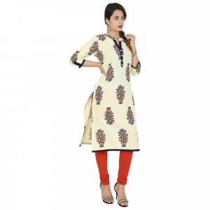Kuber Industries Women Designer Nehru Neck Floral Cream Printed Straight Kurta