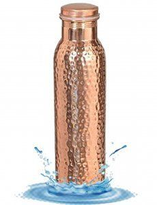 Kuber Industries™ Hammered Lacqour Coated Leak Proof Pure Copper Bottle 1000 ML Handmade, Ayurveda and Yoga Bottle with Medicinal Benefits-Copper101