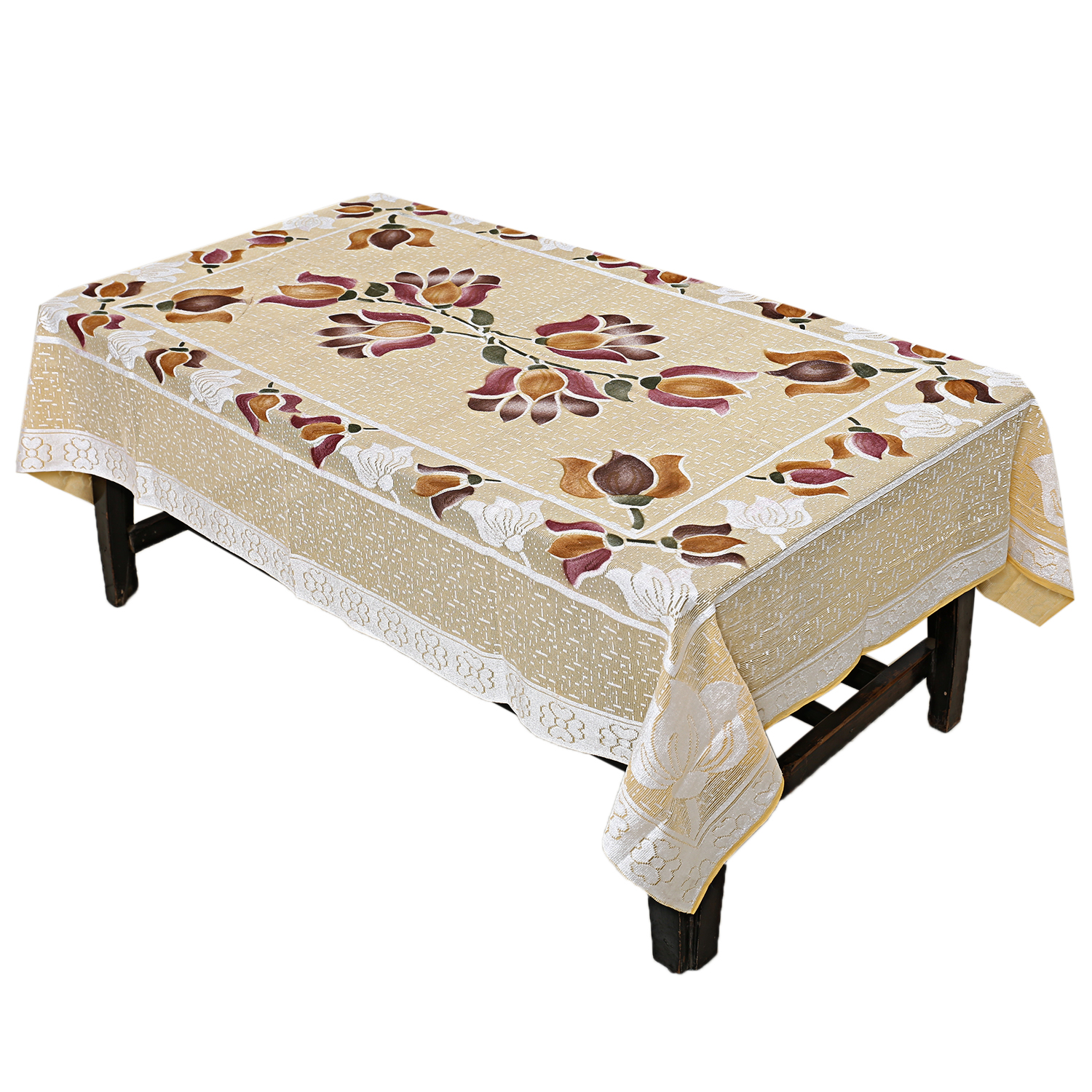 Kuber Industries Cloth Net 4 Seater Center Table Cover (Gold)