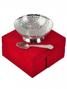 Kuber Industries Silver Plated 1 Bowl 1 Spoon Set with a Wooden Box (Silver)-CTKTC4422