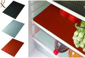Kuber Industries™ Refrigerator Drawer Mat / Fridge Mat/ Place Mat Set of 6 Pcs (13*19 Inches) (Black & Red & White) Multi Purpose Use