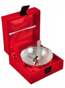 Kuber Industries Silver Plated 1 Bowl 1 Spoon Set with a Wooden Box (Silver)-CTKTC4423