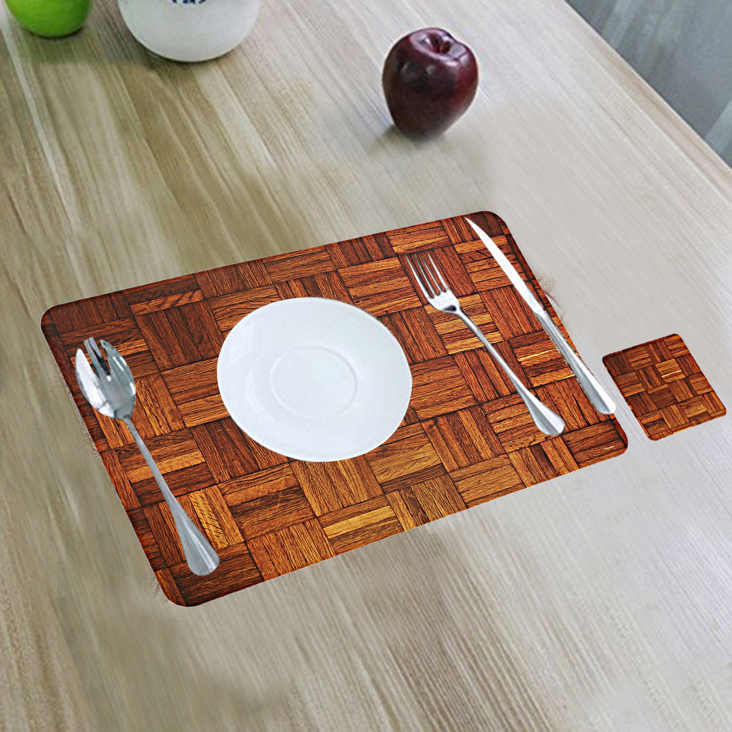 Kuber Industries PVC 6 Pieces Dining Table Placemat Set with Tea Coasters(Multi)