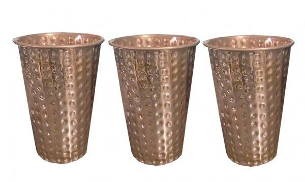 Kuber Industries Hammered Big Size Copper Drinking Glass/Tumbler/Lassi Glass 300 ML each- Set of 3 Pcs Ayurvedic Health benefit Drinkware (Lassi12)