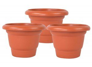 Kuber Industries Plastic Plants/Flower Pot (Brown) Set of 3 Pcs