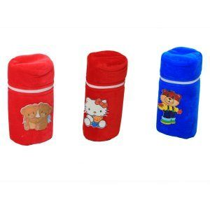 "Kuber Industriesâ""¢ Baby Soft Feeding Bottle Cover Velvet with Zip - Set of 3 - KUB363"