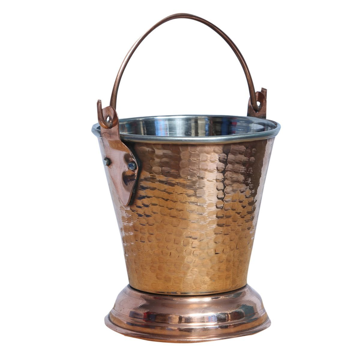 Kuber Industries Handmade Hammered Copper Steel /Copper Gravy Bucket/Balti For Serving Dishes (Height: 5 Inches Width: 4 Inches Depth: 2.5 Inches) (Buck02)