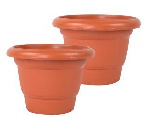 Kuber Industries Plastic Plants/Flower Pot (Brown) Set of 2 Pcs