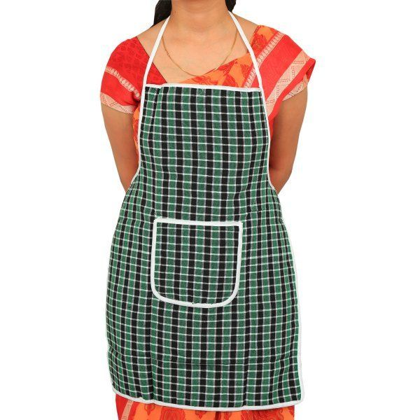 """Kuber Industriesâ""¢ Multicolor Cotton Checks Apron (Reversible & Can Use From Both Side) KU205 """