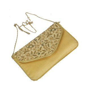 Kuber Industries™ Elegant Clutch Evening Handbag Purse with Chain for Party - Golden - BG31