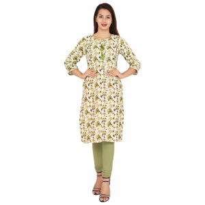 Kuber Industries Women Floral Print Straight Kurta  (Green)