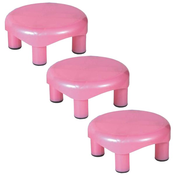 Kuber Industries Plastic Oval Bathroom Patla/Stool (Assorted) Set of 3 Pcs