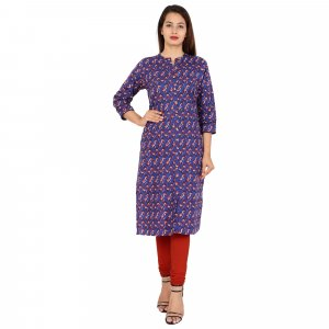 Kuber Industries Women Printed Frontslit Kurta  (Purple)