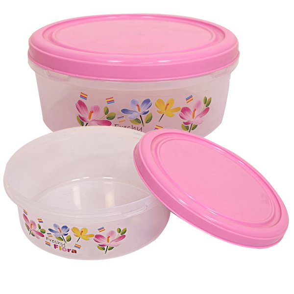 Kuber Industries Plastic Papad Box/Kitchen Container set of 2 Pcs (Pink)