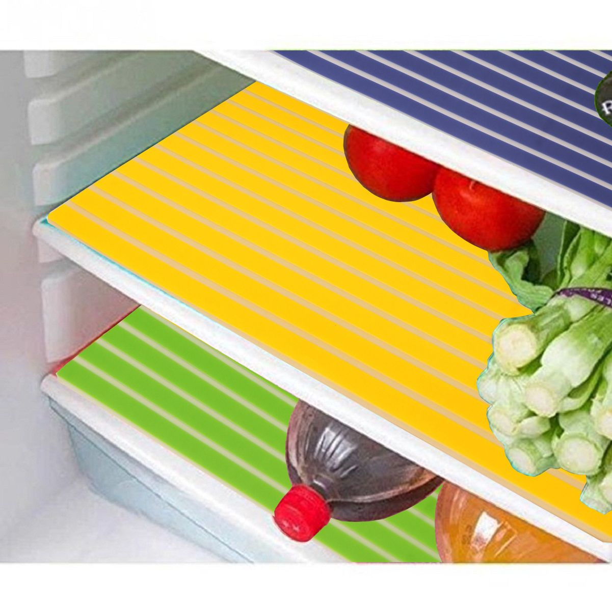 Kuber Industries PVC 6 Pieces Refrigerator Drawer Mats (Blue, Yellow & Green)