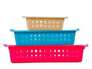 Kuber Industries™ Rectangular Basket Storage Box/Organizer/Container Kitchen Bedroom Bathroom Office - Pack of 3 (Large+Medium+Small) in Assorted colors PL21