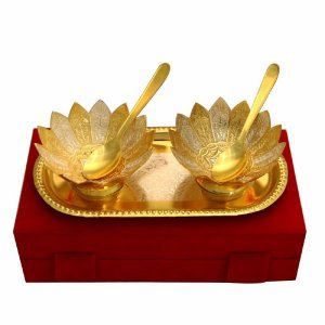 Kuber Industries Gold Plated 2 Bowls, 2 Spoons, 1 Tray Set with a Wooden Box (Gold)-CTKTC4424
