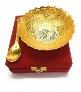 Kuber Industries Gold Plated 1 Bowl 1 Spoon Set with a Wooden Box (Gold)-CTKTC4421
