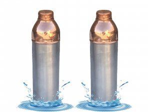 Kuber Industries Fanta Design Leak Proof Pure Copper Bottle Set of 2 Pcs 1000 ML Handmade, Ayurveda and Yoga Bottle with Medicinal Benefits-Copper159