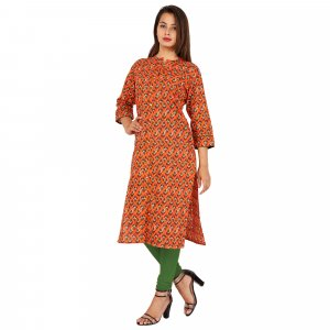 Kuber Industries Women Printed Frontslit Kurta  (Orange)