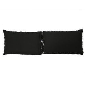 "Kuber Industriesâ""¢ Solid Plain Premium Cotton Pillow Cover with Lace Design,Set of 2 - Black - KU93"