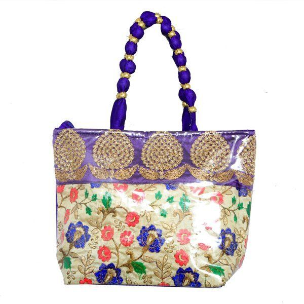Kuber Industries™ Women Stylish Handbag Fully Laminated (Traditional Design), Blue - BG21