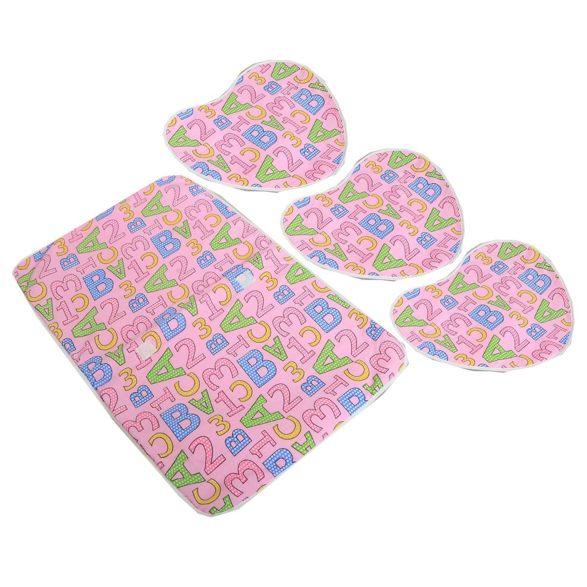"Kuber Industriesâ""¢ Baby Waterproof Sheets Plastic & Cotton Foam Cushioned Sleeping Mat with 3 Changing Mat(Pink) - KUB411"