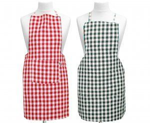 Kuber Industries™ Check Design Kitchen Apron With Front Pocket Set of 2 Pcs