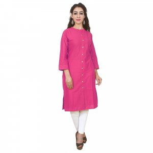 Kuber Industries Women Dyed Straight Kurta  (Pink)