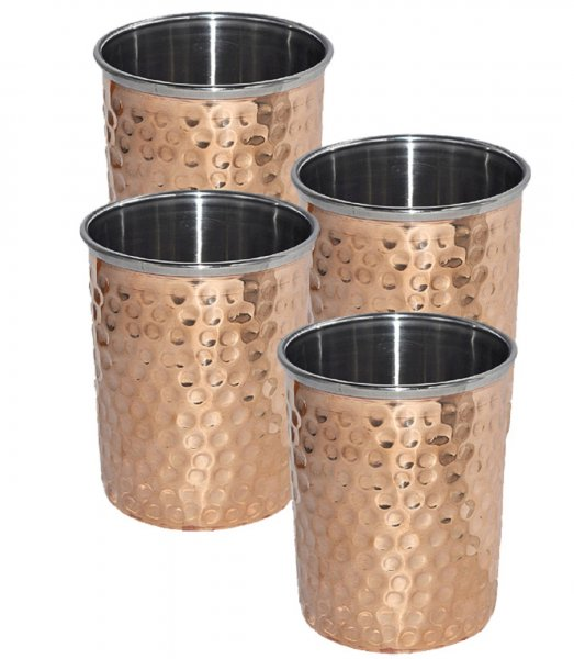 Kuber Industries Hammered Copper Drinking Glass/Tumbler in Inner Stainless Steel Material- Set of 4 Pcs 260 ML Each Ayurvedic Health benefit Drinkware  (COPS19)