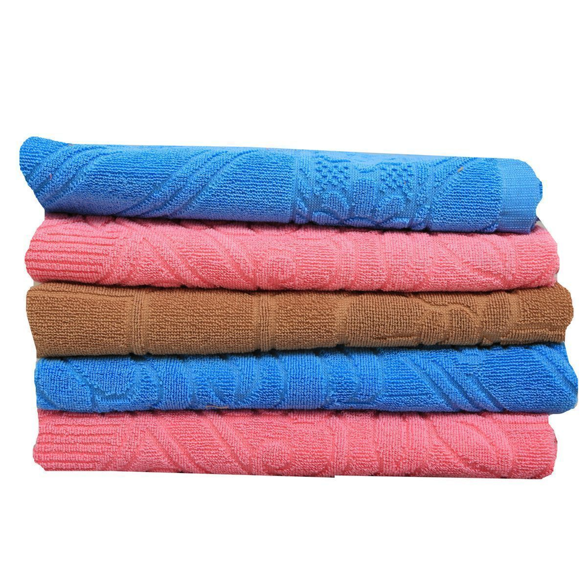 Kuber Industries 100% Pure Cotton Men's Bath Towel Set Of 5 Pcs GSM-400 (27*54 Inches )Pink & Sky Blue & Brown-KU41