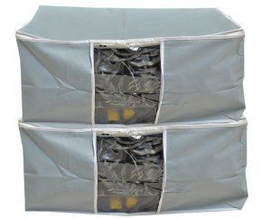 Kuber Industries™ Underbed Storage Bag, Storage Organiser,Blanket Cover Set of 2 Pcs - Grey (Extra Large Size With Handle) Code-UDB08